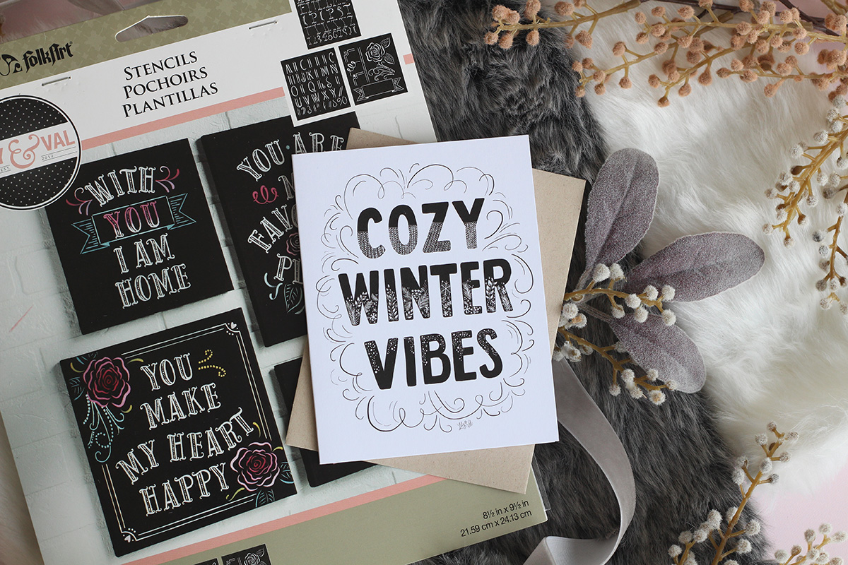 cozy winter vibes hand lettered card by Lily & Val