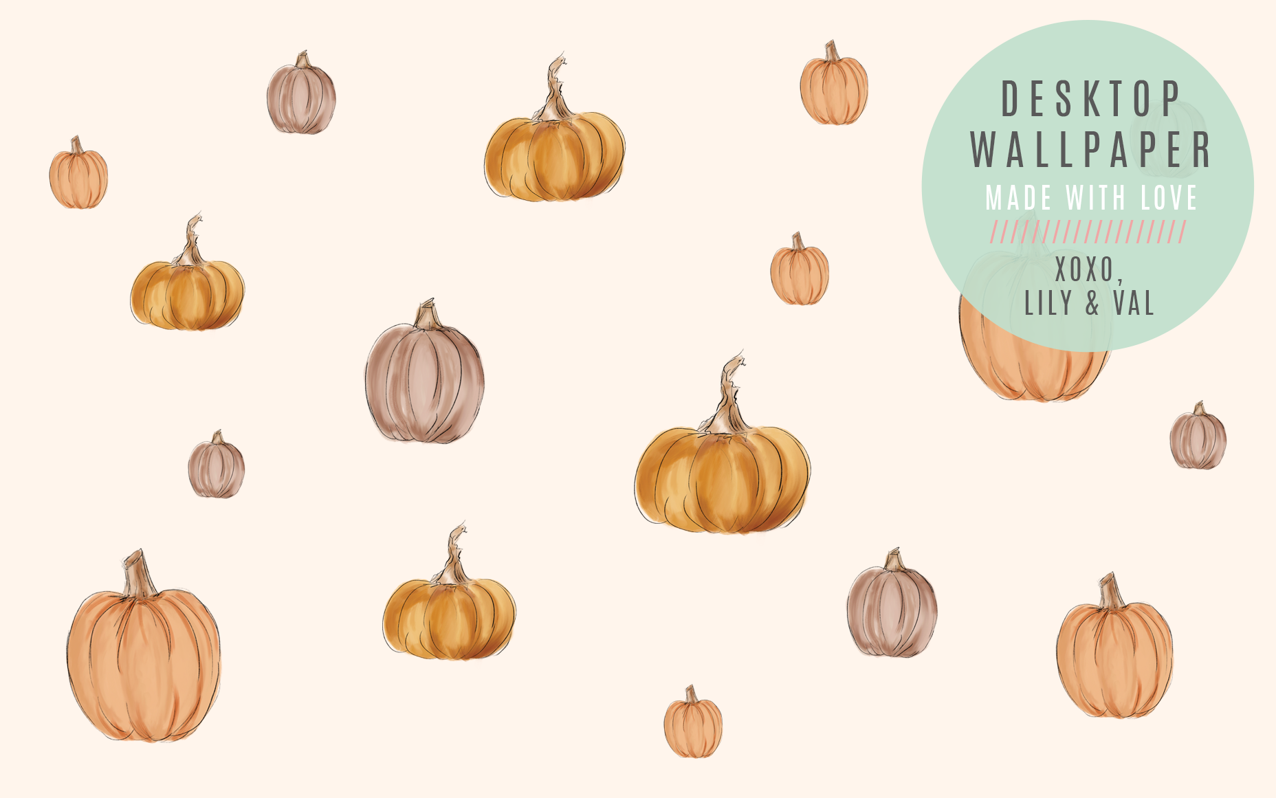 Cute hand-drawn pumpkin desktop computer background for Fall/Autumn